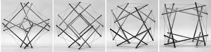 Kenneth Snelson constructed a series of four tensegrity structures that metamorphose slowly from evoking a truncated octahedron to evoking a truncated cube. Each model features 12 struts in a new arrangement; structural mechanics